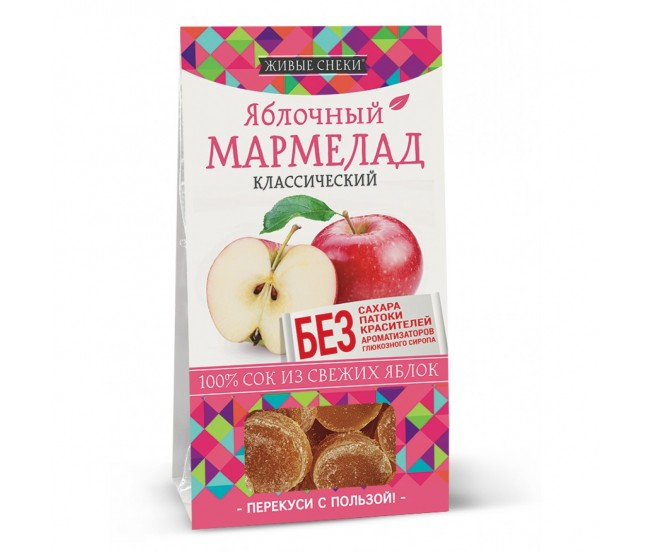 """Мармелад яблочный классический """"Живые снеки"""", 90г"""
